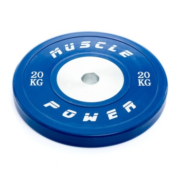Muscle Power Competitie Bumper Plate blauw 20 KG MP809