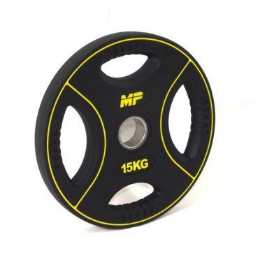 Muscle Power 50mm PU halterschijf 4 grip 15 kg