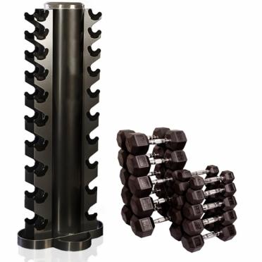 Muscle Power Hexa Dumbbellset 1 - 10 KG met Toren