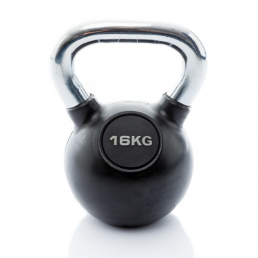 Muscle Power Kettlebell Rubber - Chrome 16 KG MP1301