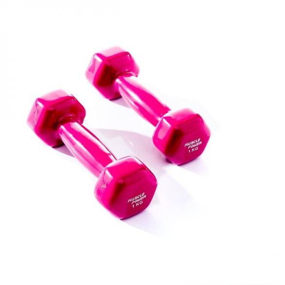 Muscle Power Vinyl Dumbbellset 2 x 1 KG Paars MP920  MP920-1KG