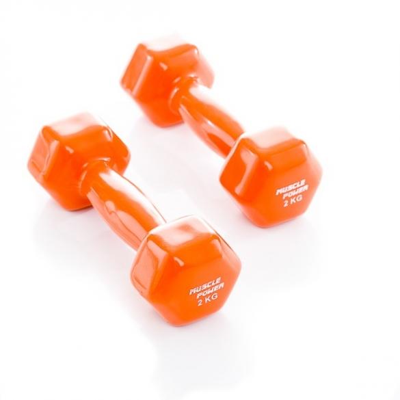 Muscle Power Vinyl Dumbbellset 2 x 2 KG Oranje MP920  MP920-2KG