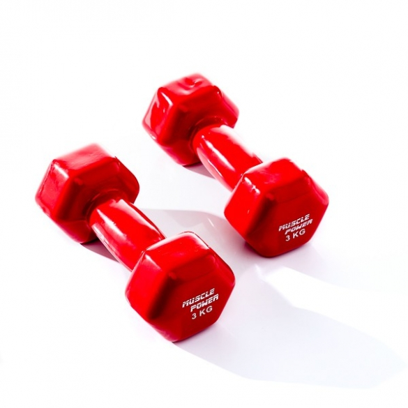 Muscle Power Vinyl Dumbbellset 2 x 3 KG Rood MP920  MP920-3KG