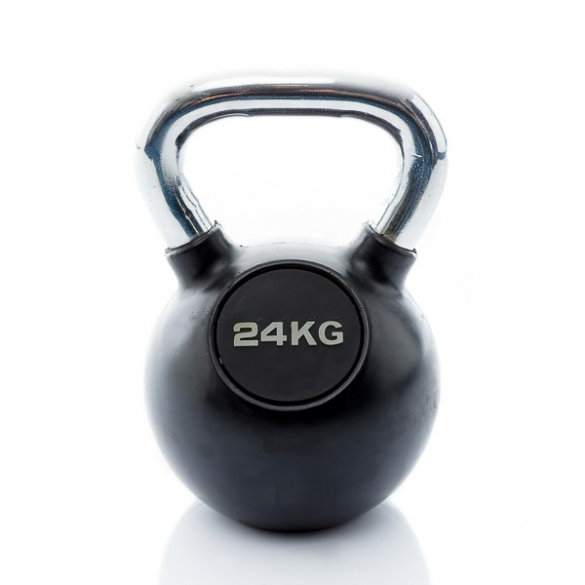 Muscle Power Kettlebell Rubber - Chrome 24 KG MP1301  MP1301-24