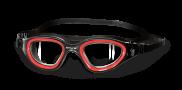 zwembril zwart/rood transparante lens